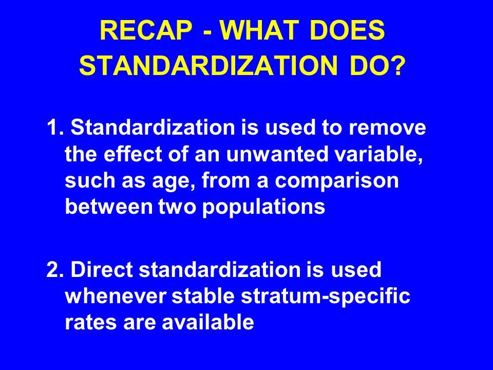 RECAP - WHAT DOES STANDARDIZATION DO