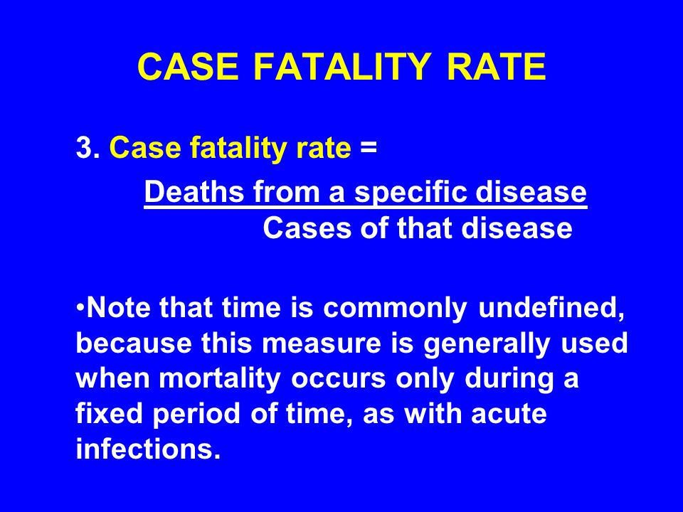 CASE FATALITY RATE 3. Case fatality rate =