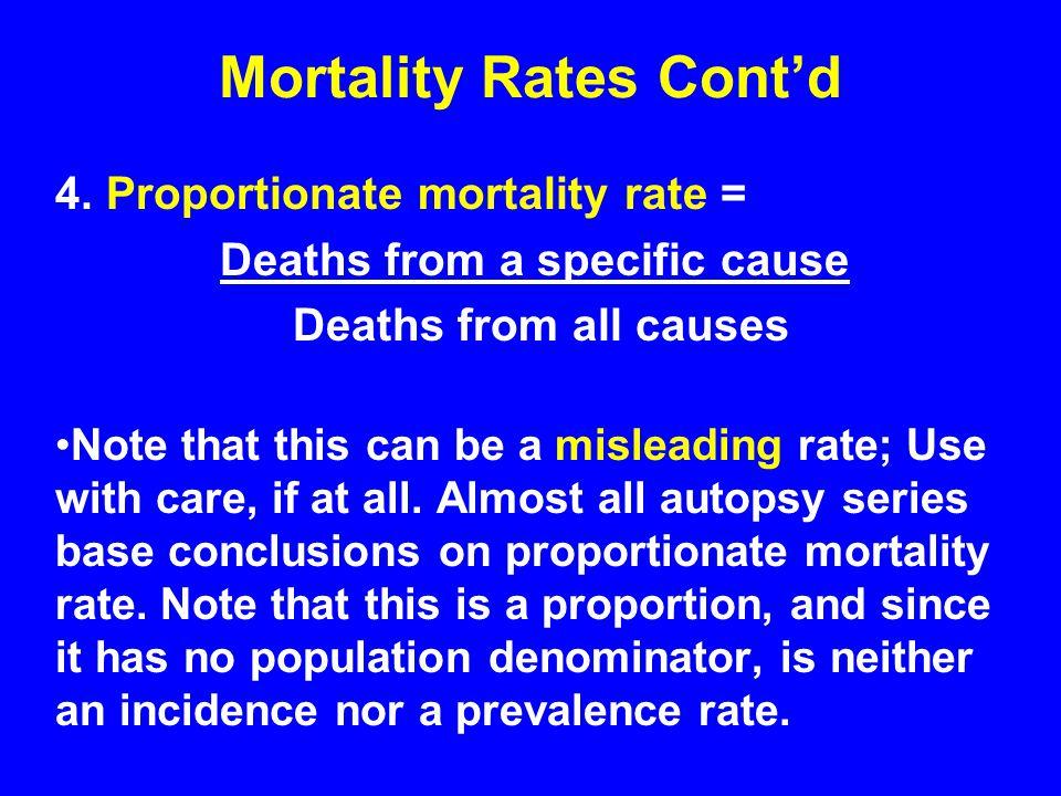Mortality Rates Cont'd