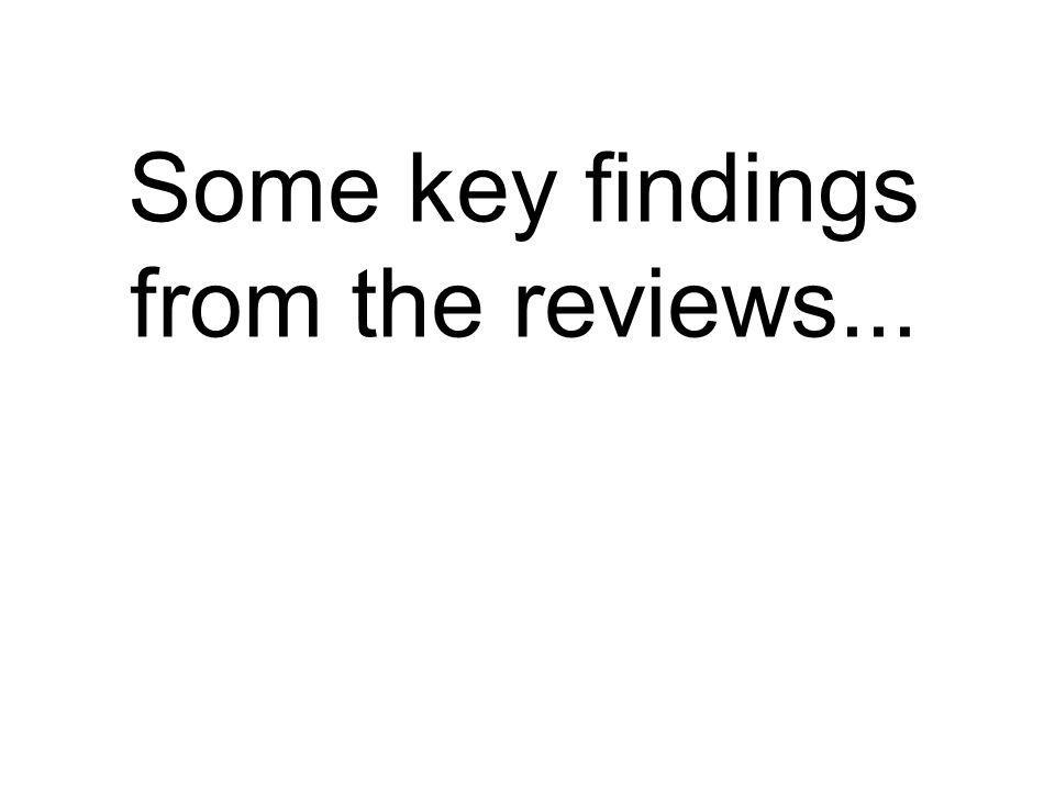 Some key findings from the reviews...