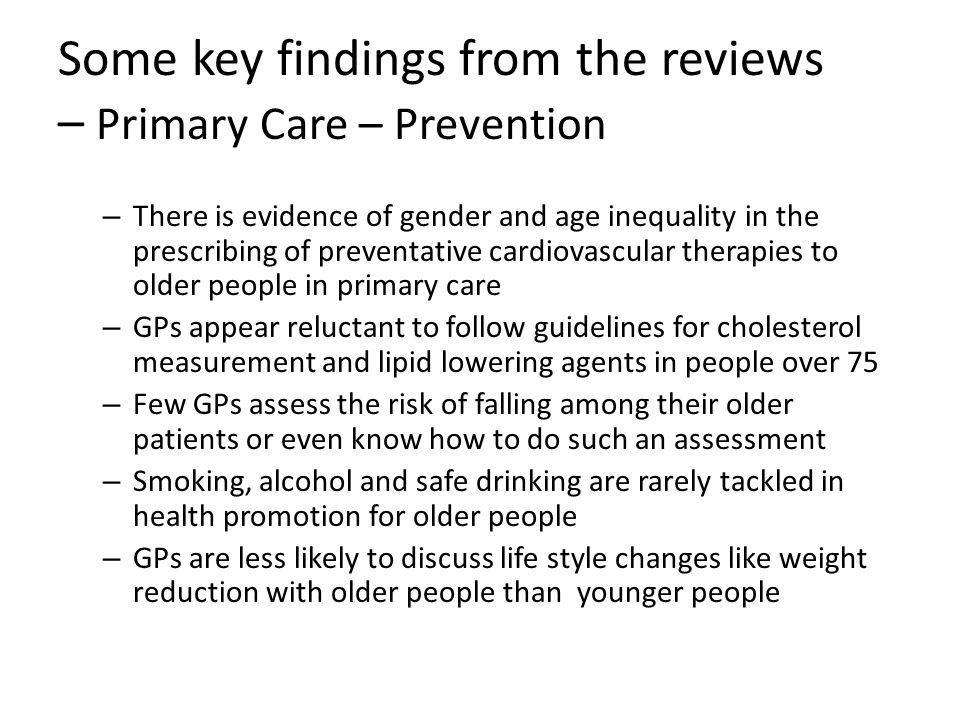 Some key findings from the reviews – Primary Care – Prevention