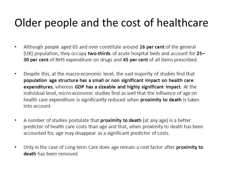 Older people and the cost of healthcare
