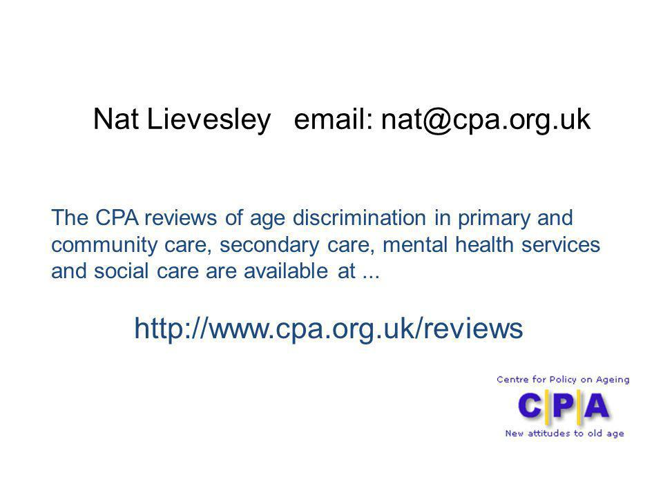 Nat Lievesley email: nat@cpa.org.uk
