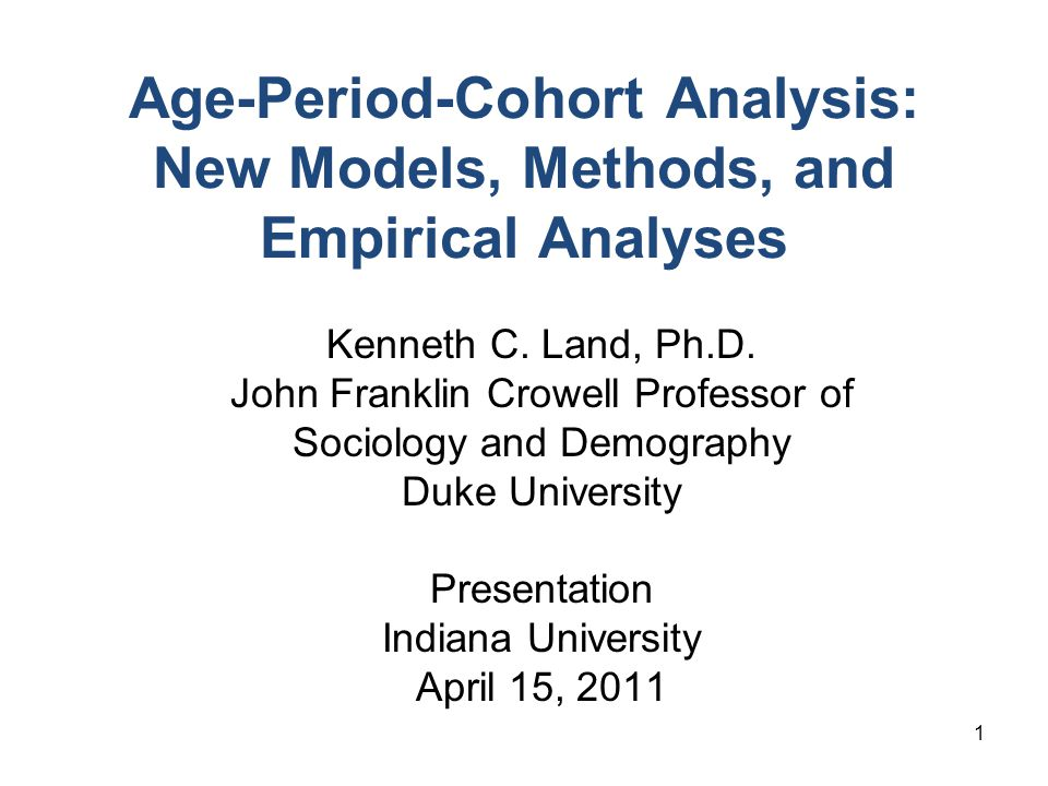 Age-Period-Cohort Analysis: New Models, Methods, and Empirical Analyses