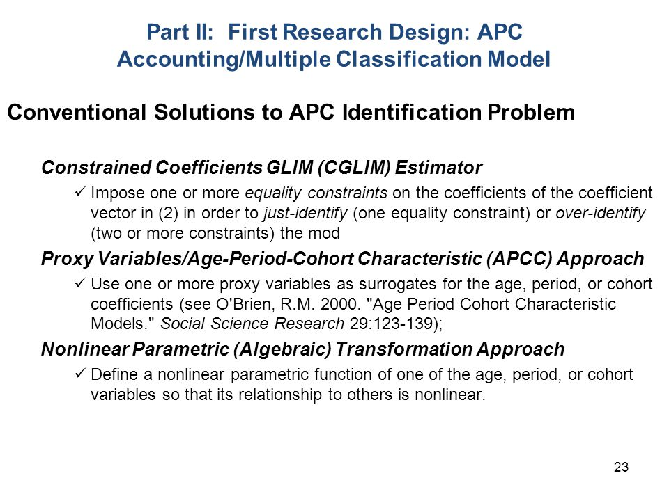 Conventional Solutions to APC Identification Problem
