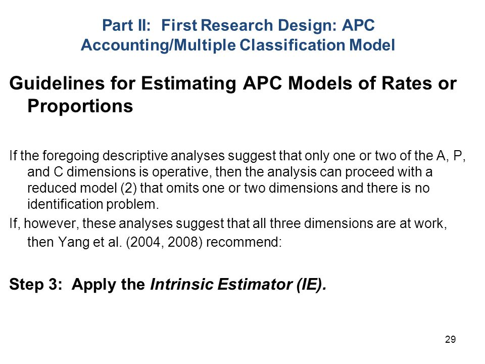 Guidelines for Estimating APC Models of Rates or Proportions