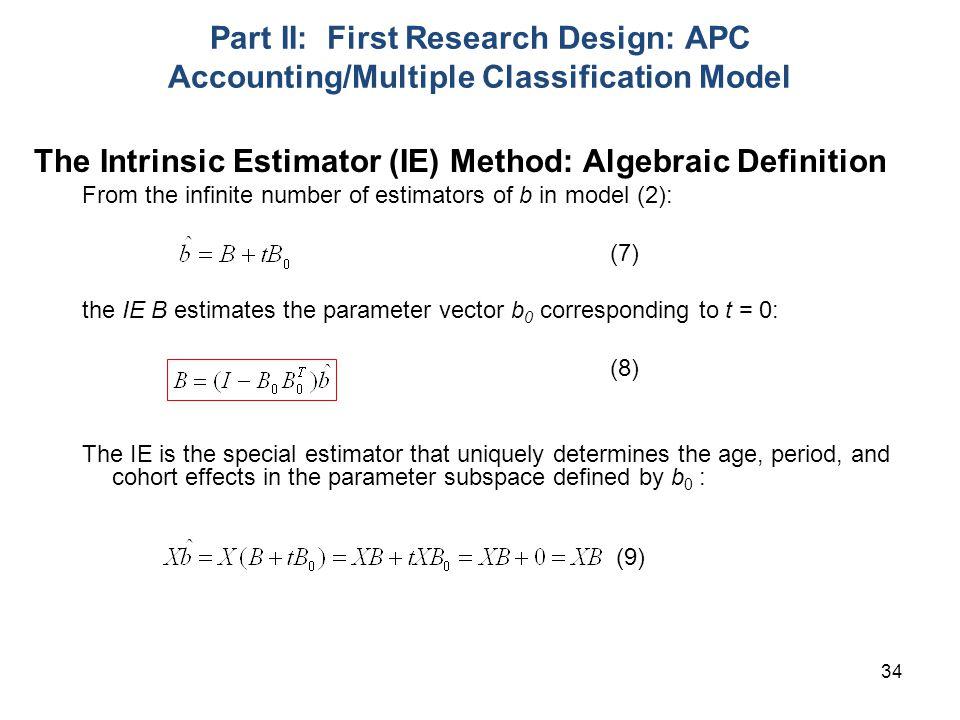 The Intrinsic Estimator (IE) Method: Algebraic Definition