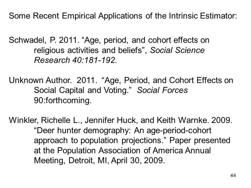 Some Recent Empirical Applications of the Intrinsic Estimator: