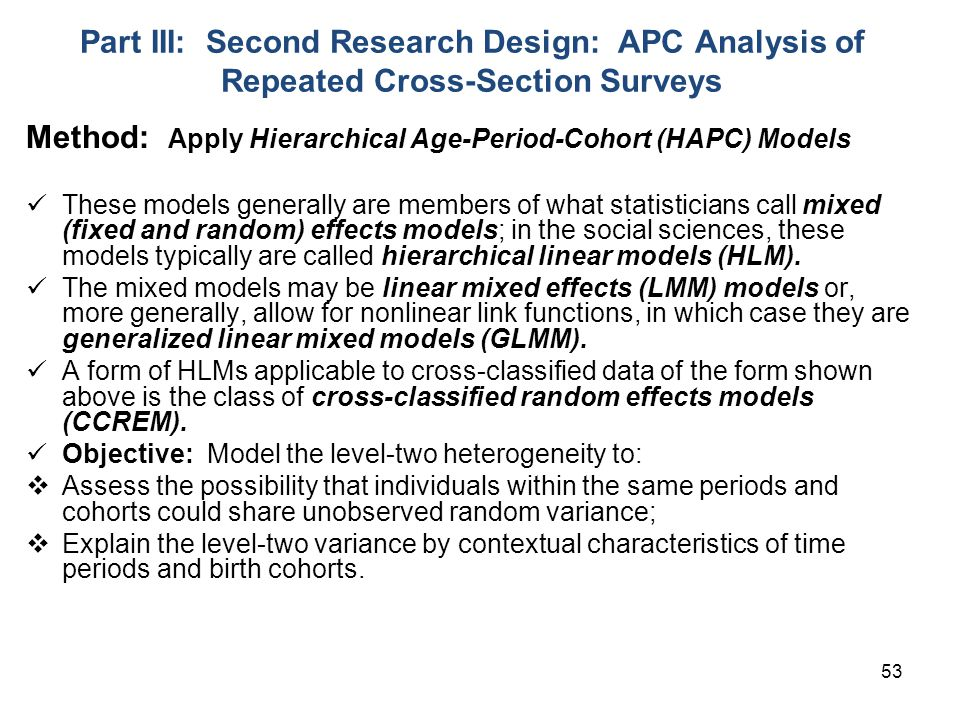 Method: Apply Hierarchical Age-Period-Cohort (HAPC) Models