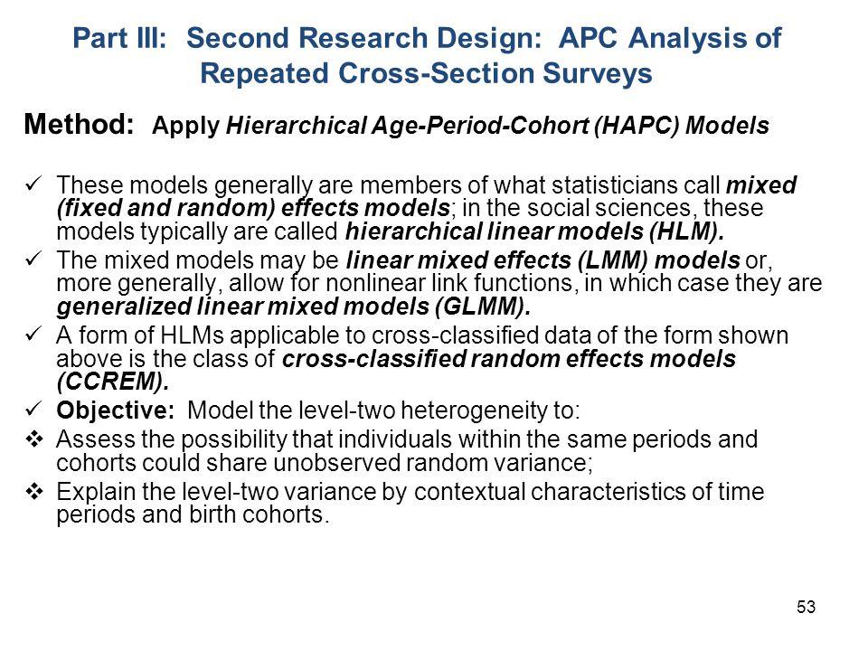 Method: Apply Hierarchical Age-Period-Cohort (HAPC) Models