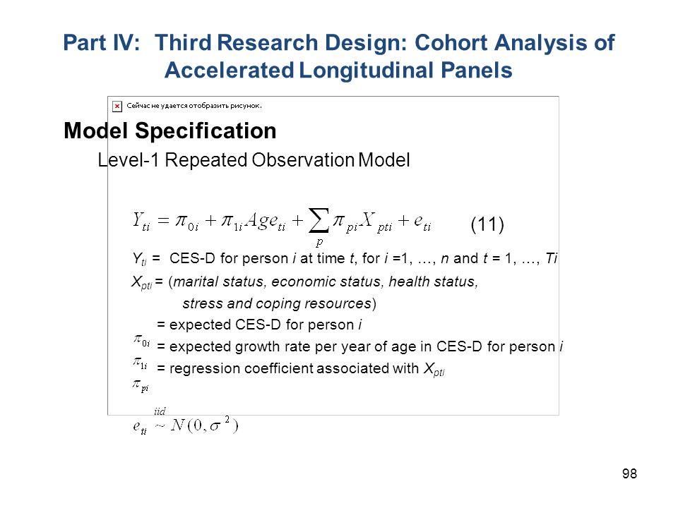 Yti = CES-D for person i at time t, for i =1, …, n and t = 1, …, Ti