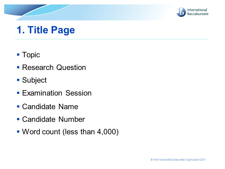 1. Title Page Topic Research Question Subject Examination Session