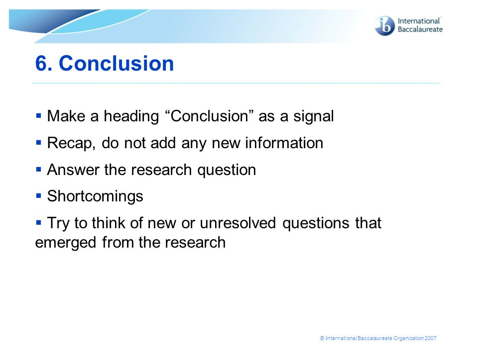 6. Conclusion Make a heading Conclusion as a signal