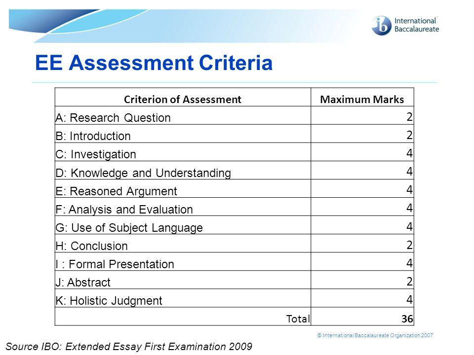 EE Assessment Criteria