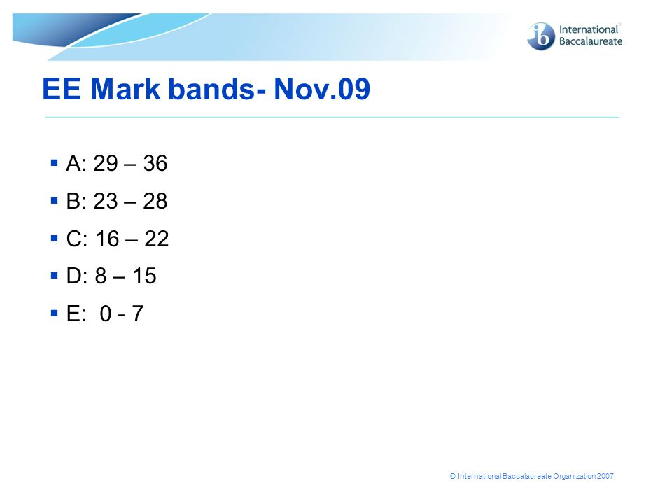 EE Mark bands- Nov.09 A: 29 – 36 B: 23 – 28 C: 16 – 22 D: 8 – 15