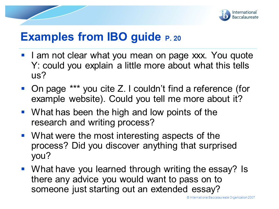 Examples from IBO guide P. 20