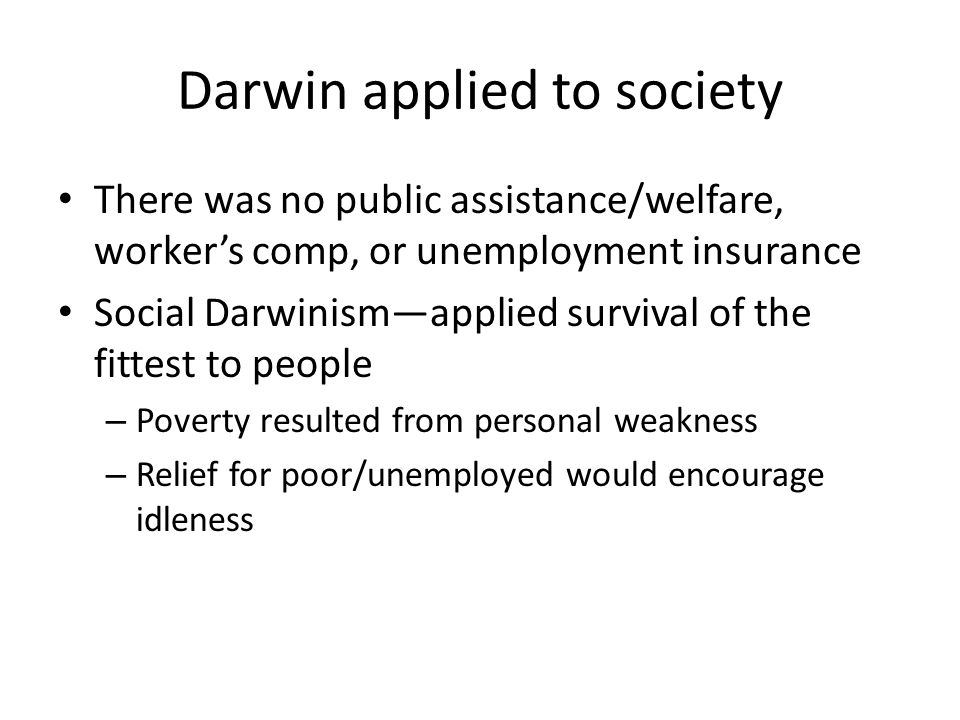Darwin applied to society