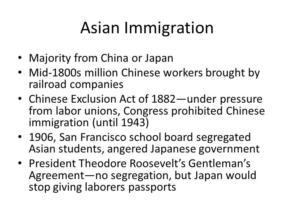 Asian Immigration Majority from China or Japan