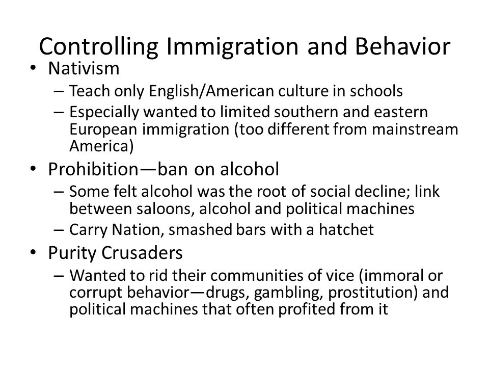 Controlling Immigration and Behavior