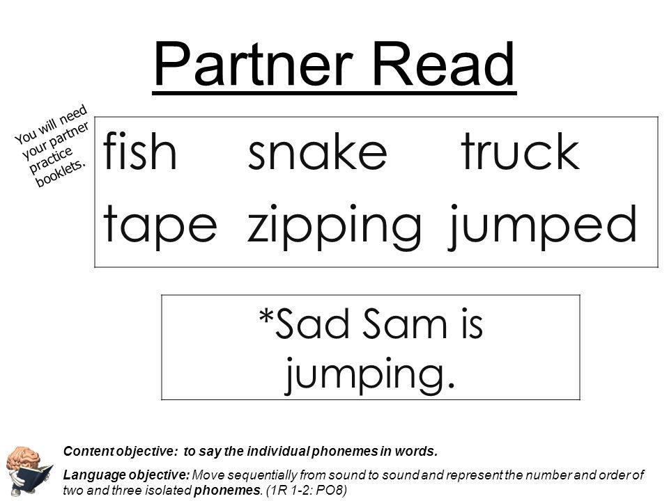 Partner Read fish snake truck tape zipping jumped *Sad Sam is jumping.