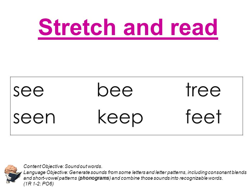Stretch and read see bee tree seen keep feet