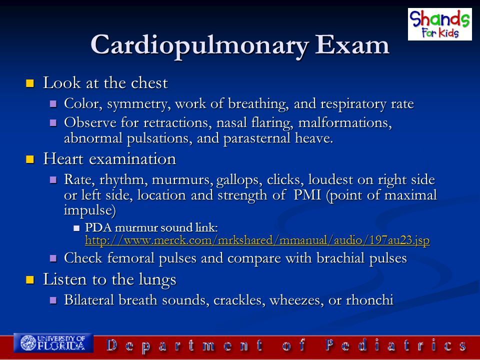 Cardiopulmonary Exam Look at the chest Heart examination
