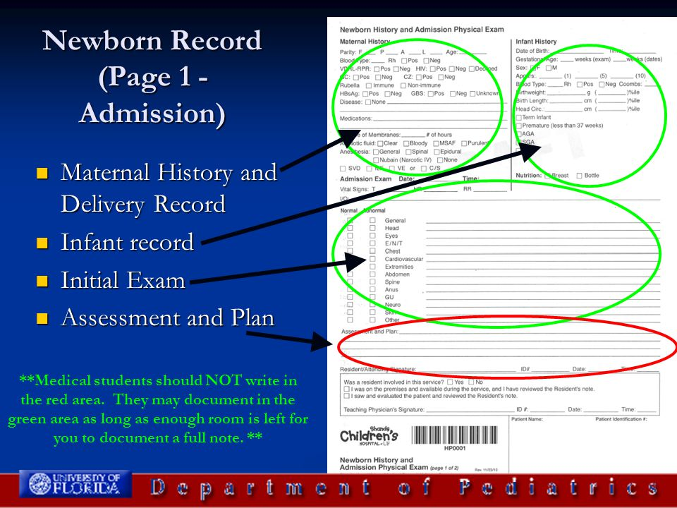 Newborn Record (Page 1 - Admission)