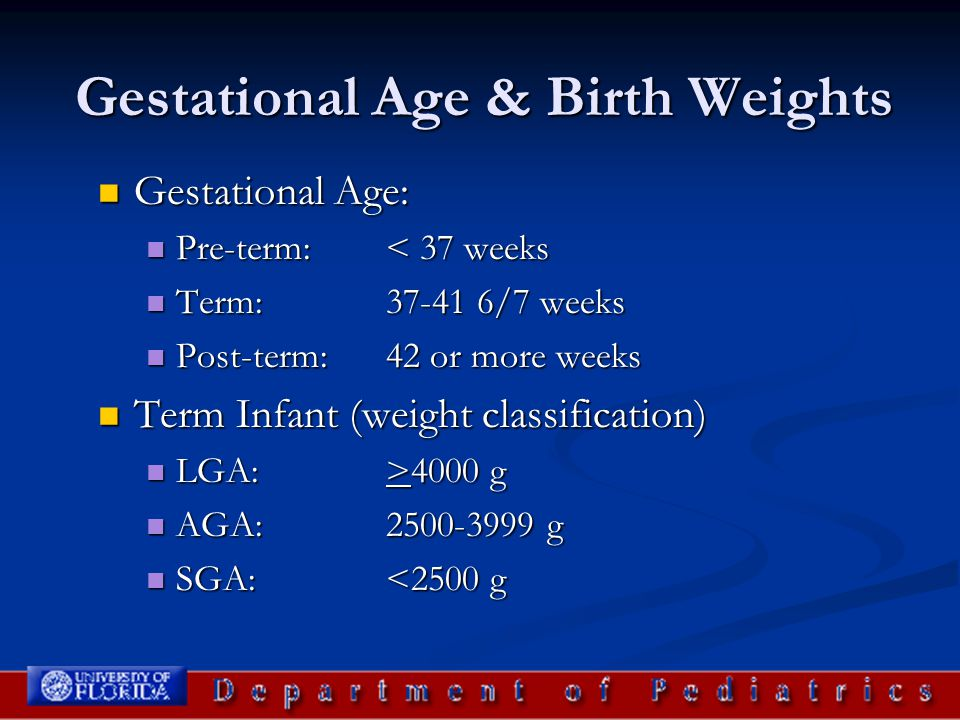 Gestational Age & Birth Weights