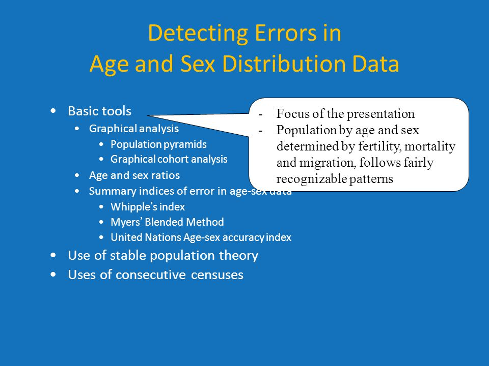 Detecting Errors in Age and Sex Distribution Data