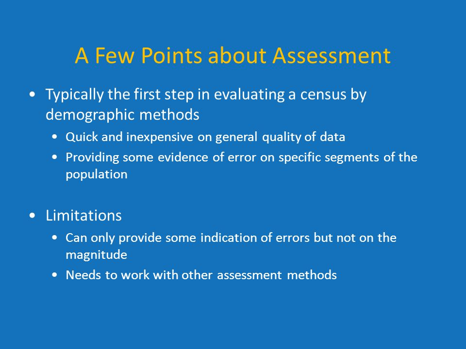 A Few Points about Assessment