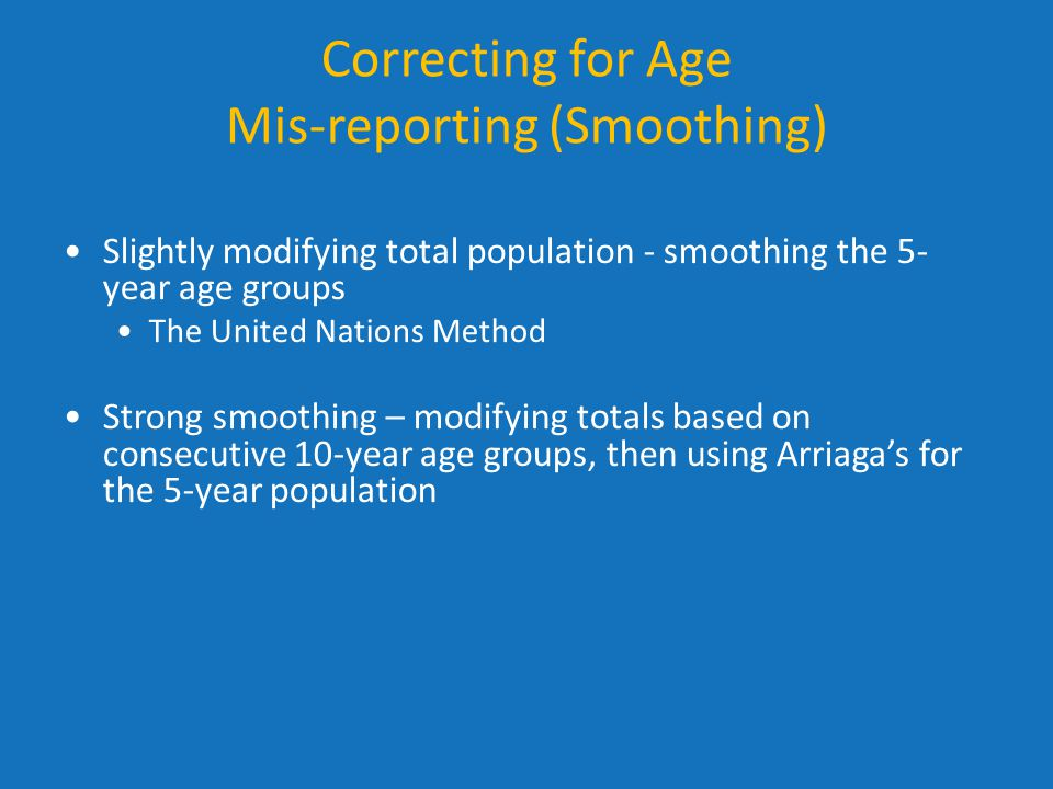 Correcting for Age Mis-reporting (Smoothing)