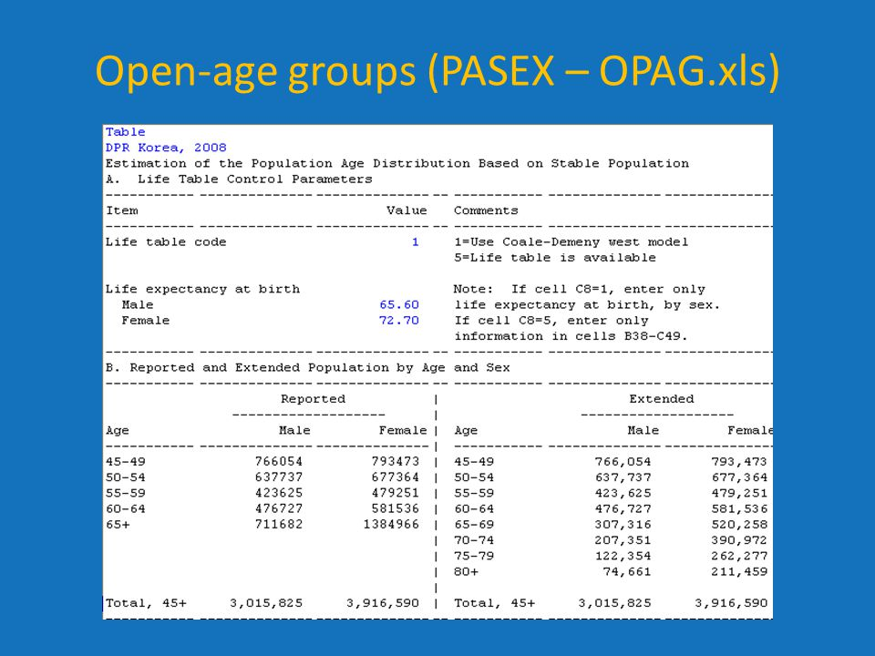 Open-age groups (PASEX – OPAG.xls)