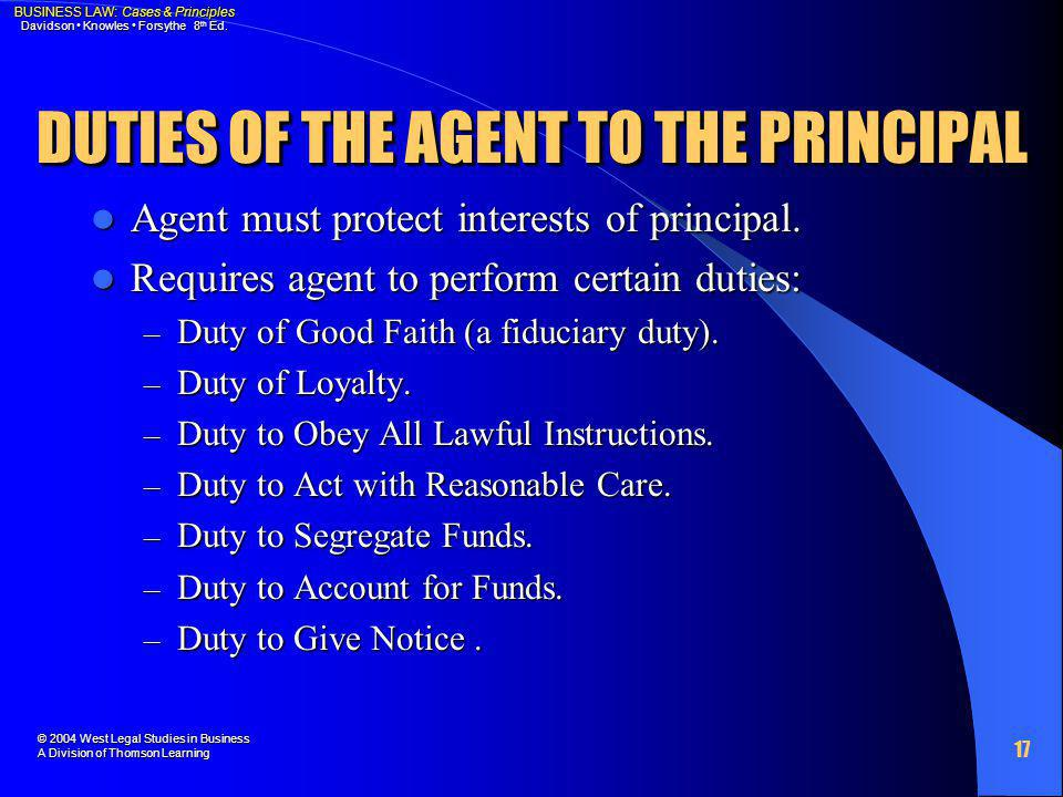 DUTIES OF THE AGENT TO THE PRINCIPAL