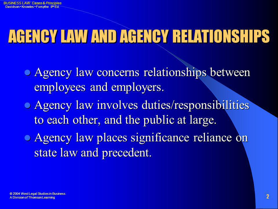AGENCY LAW AND AGENCY RELATIONSHIPS