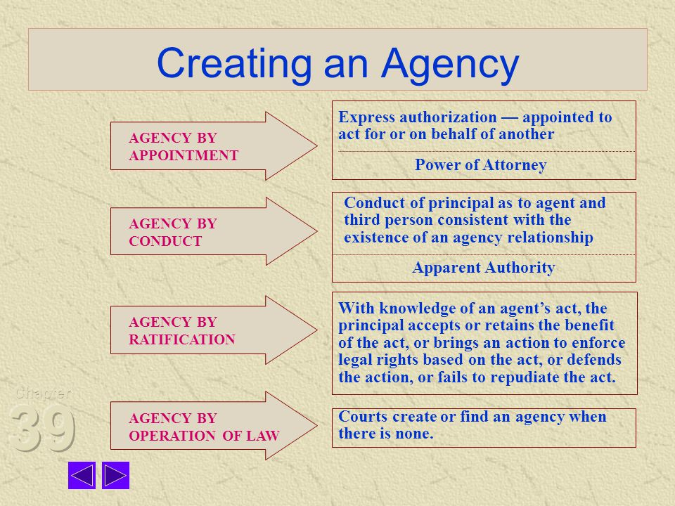 Chapter 39 Creating an Agency. Express authorization — appointed to act for or on behalf of another.