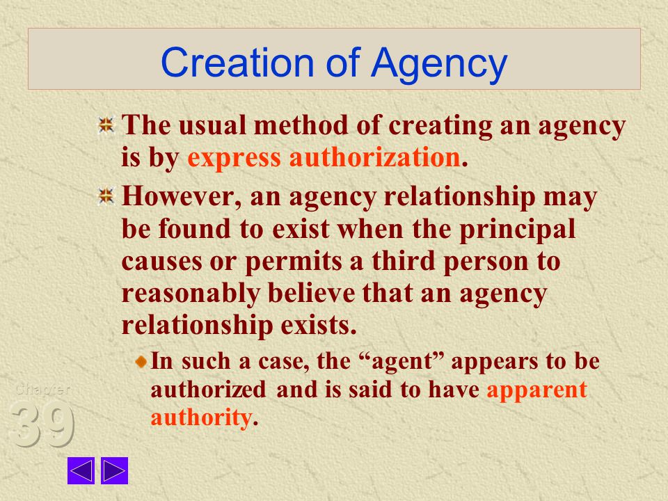Creation of Agency The usual method of creating an agency is by express authorization.