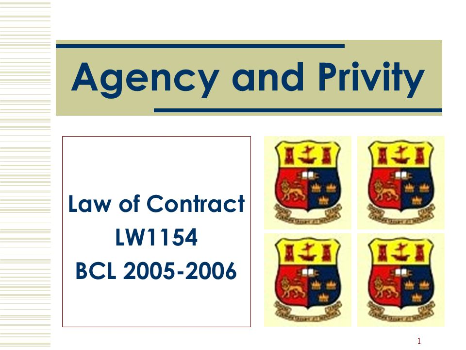 Agency and Privity Law of Contract LW1154 BCL 2005-2006