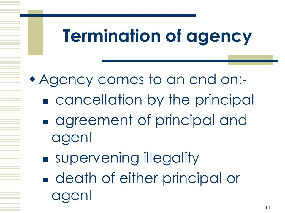 Termination of agency Agency comes to an end on:-