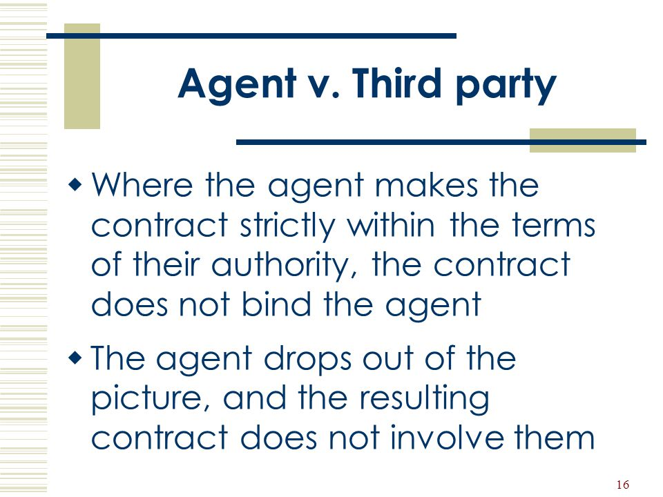 Agent v. Third party Where the agent makes the contract strictly within the terms of their authority, the contract does not bind the agent.