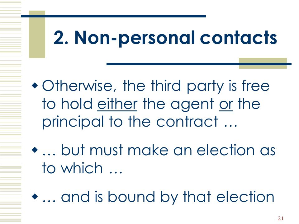2. Non-personal contacts