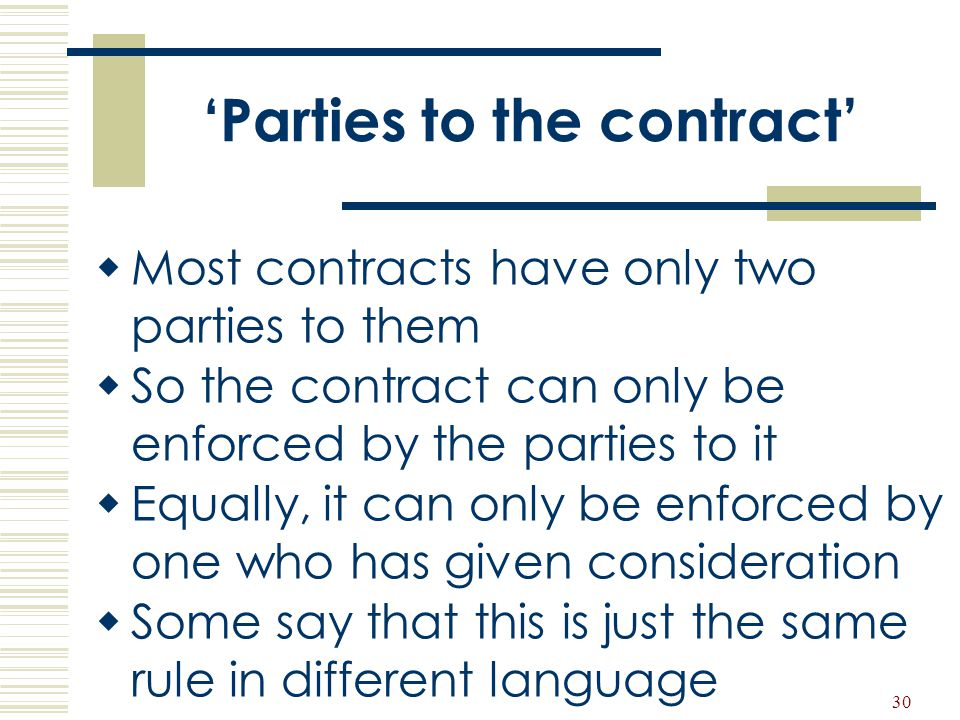 'Parties to the contract'