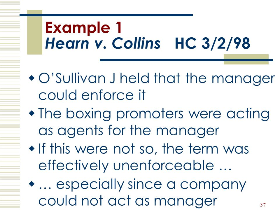 Example 1 Hearn v. Collins HC 3/2/98