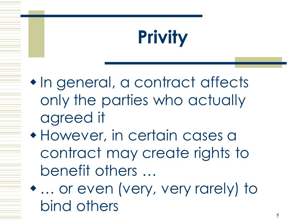 Privity In general, a contract affects only the parties who actually agreed it.