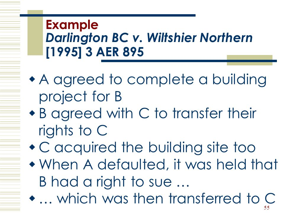 Example Darlington BC v. Wiltshier Northern [1995] 3 AER 895