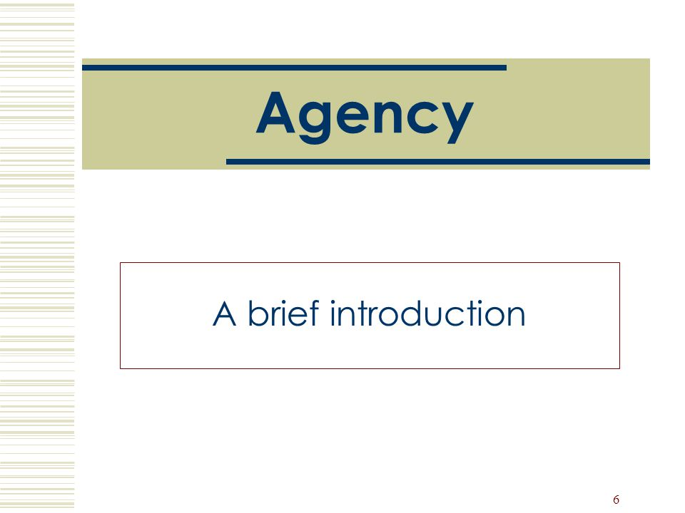 Agency A brief introduction