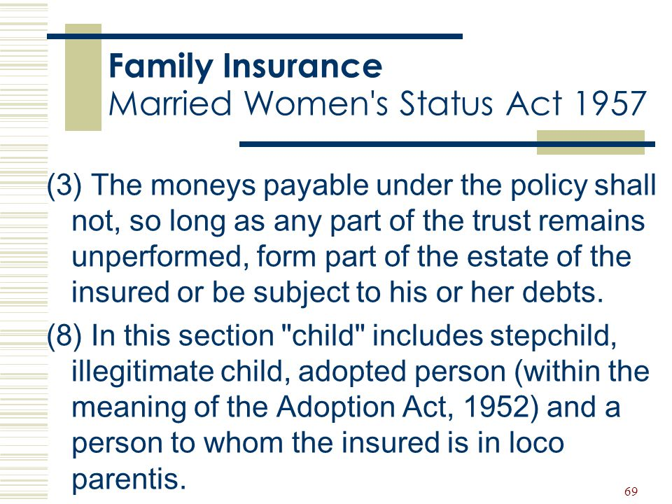 Family Insurance Married Women s Status Act 1957