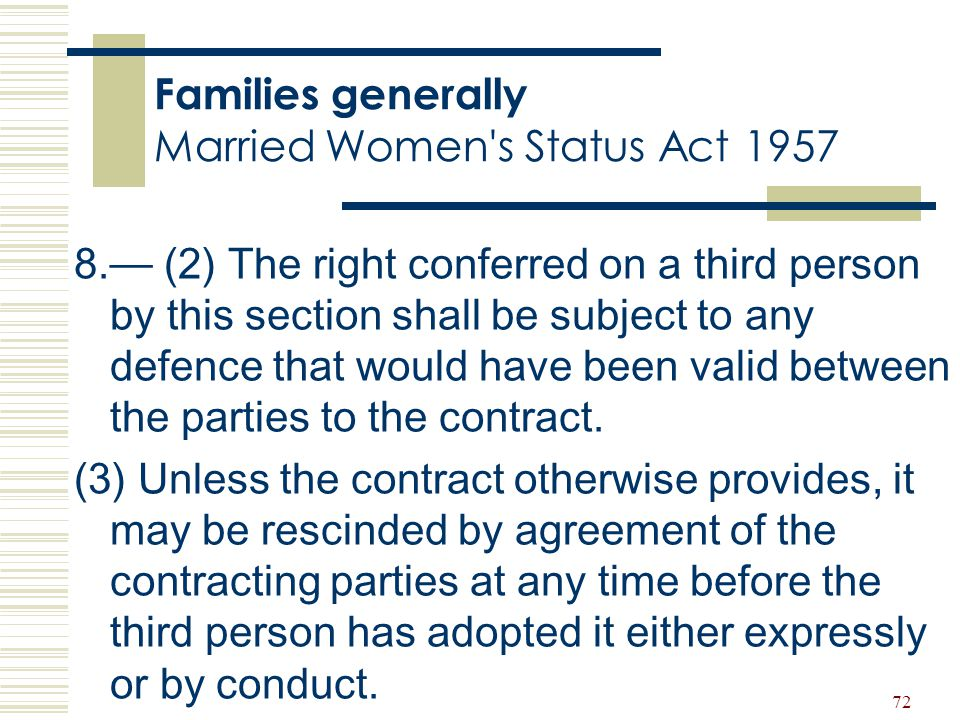 Families generally Married Women s Status Act 1957