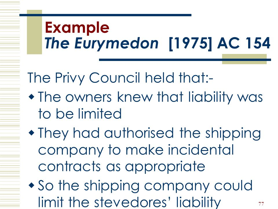 Example The Eurymedon [1975] AC 154
