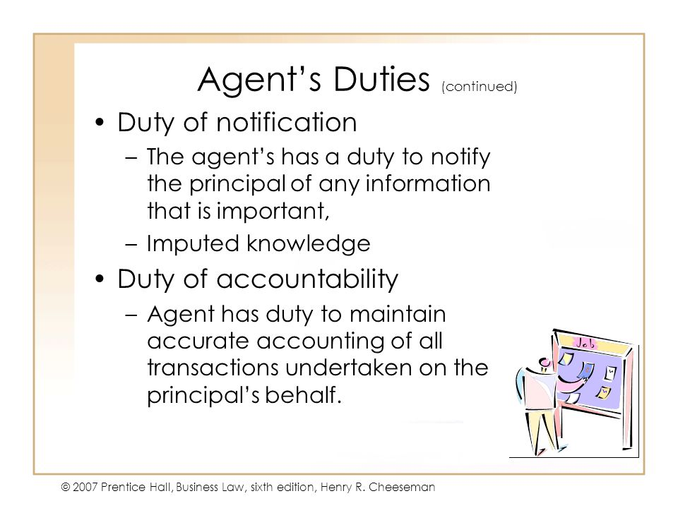 Agent's Duties (continued)