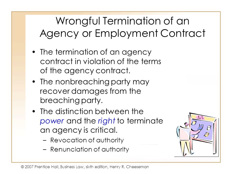 Wrongful Termination of an Agency or Employment Contract